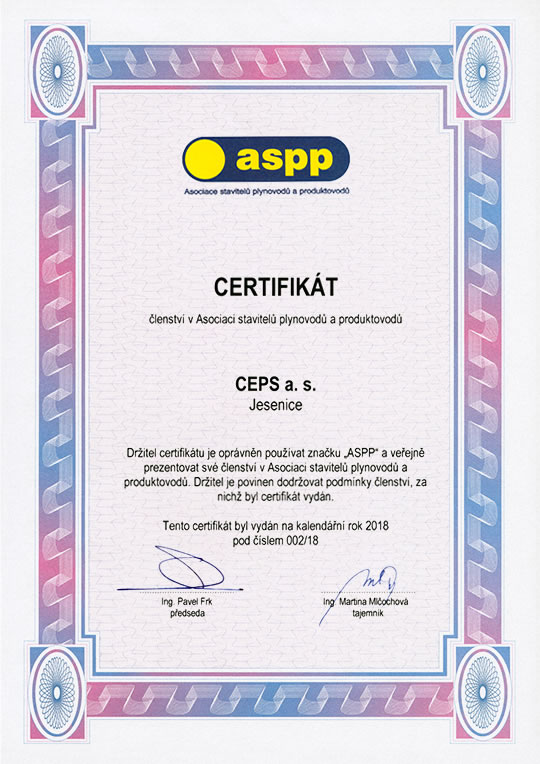 Certificate of membership in the Association of Pipeline Contractors (Certificate No. 002/18)