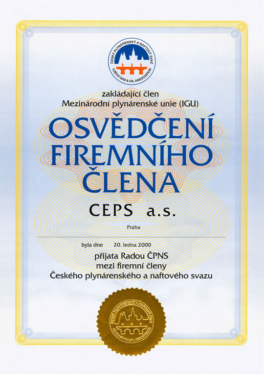 The certificate of company member of the Czech Gas Association