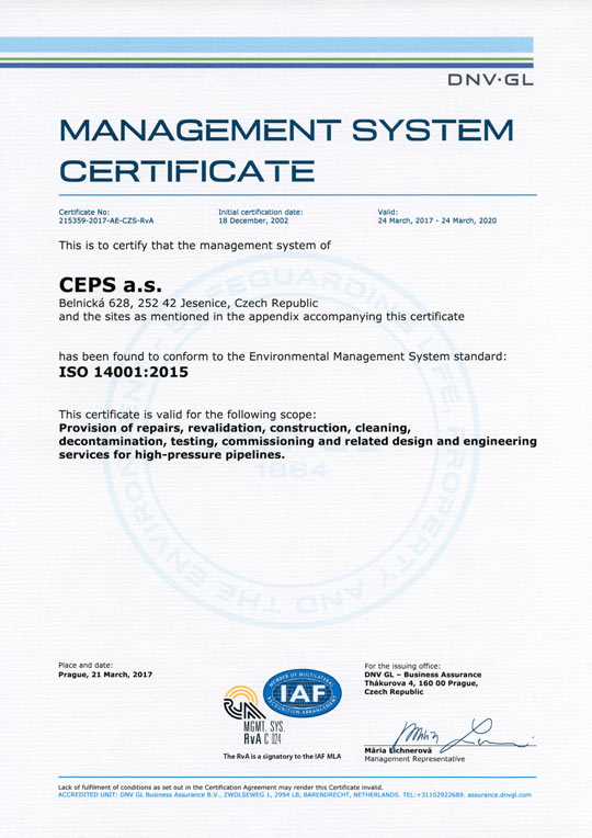 ISO 14001:2015 Management System Certificate (Certificate No. 215359-2017-AE-CZS-RvA)