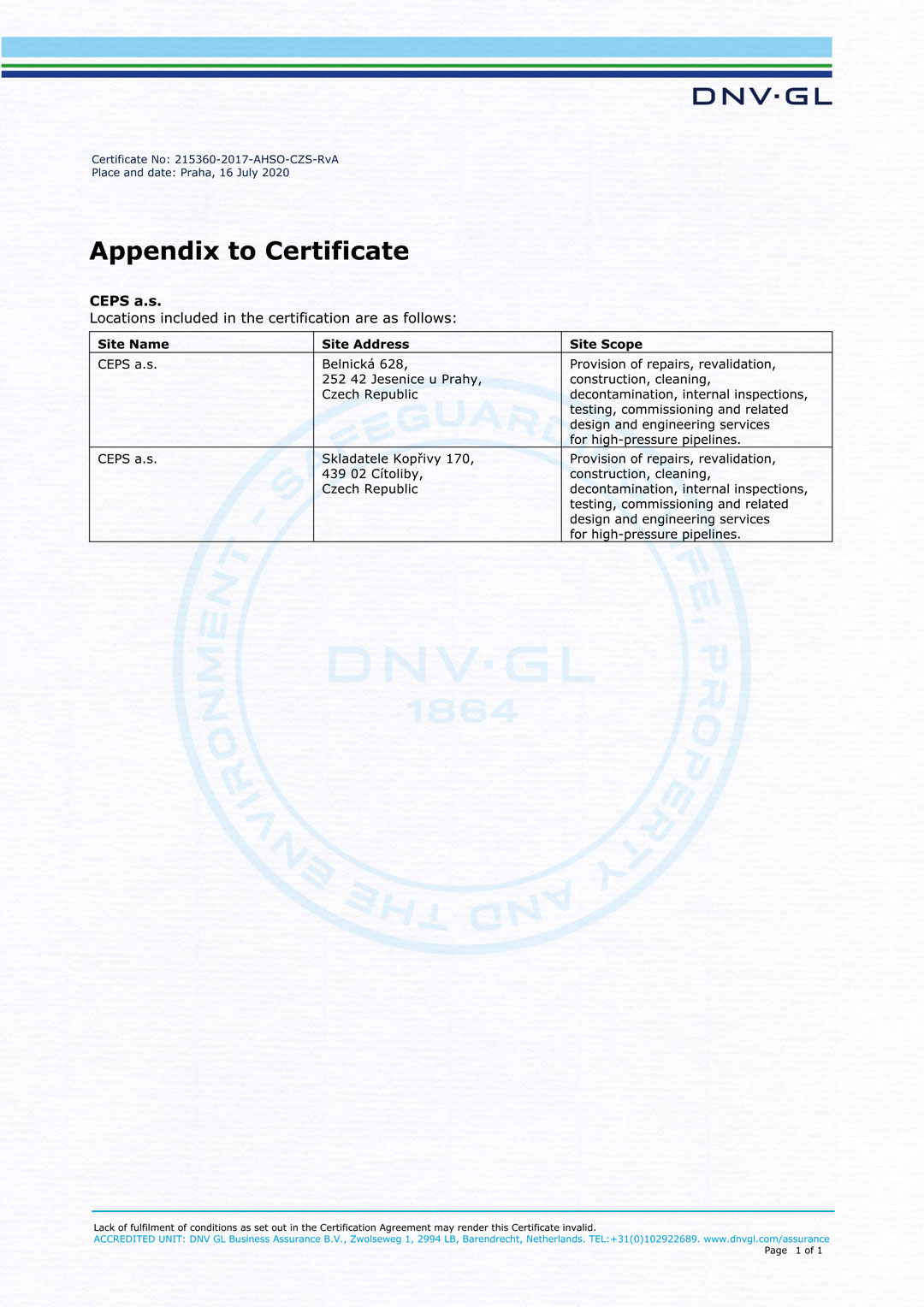 Appendix to certificate ISO 45001:2018