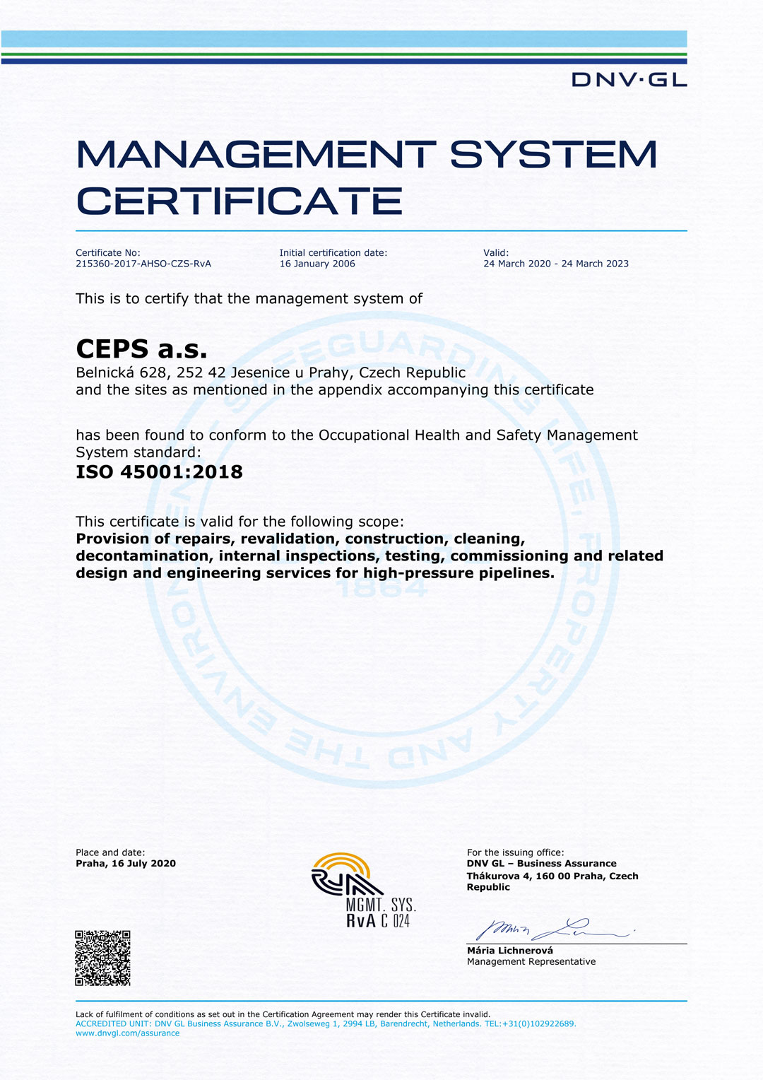 ISO 45001:2018 Management System Certificate (Certificate No. 215360-2017-AHSO-CZS-RvA)