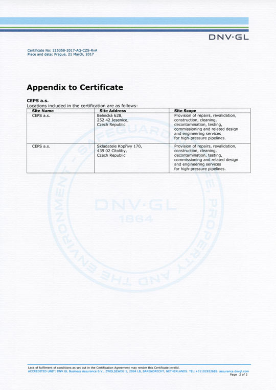 Appendix to certificate ISO 9001:2015