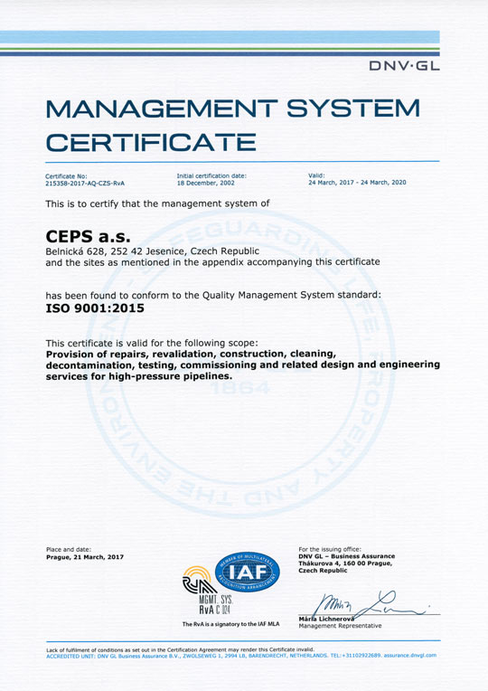ISO 9001:2015 Management System Certificate (Certificate No. 215358-2017-AQ-CZS-RvA)