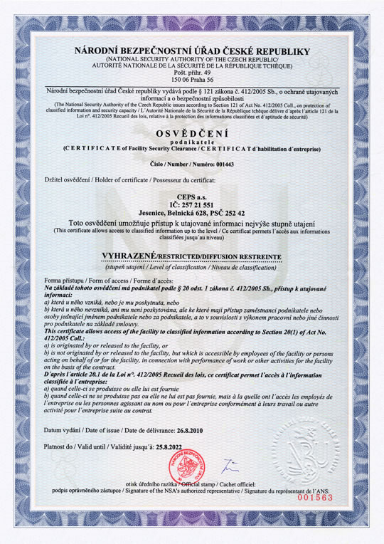 Certificate of Facility Security Clearance (Certificate Number 001443)