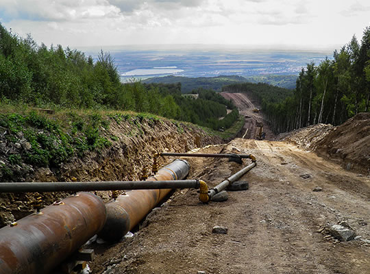 Gas pipeline GAZELLE DN 1400 in (Krušné hory) the Ore Mountains – passing of water up to higher located sections